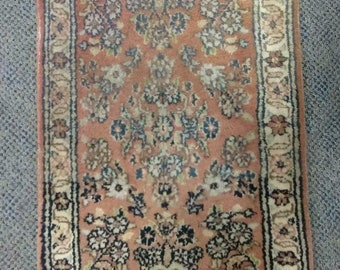 """Old Vintage Antique Persian Oriental Carpet Rug 27 x 17.5"""" Small Rectangle Art"""