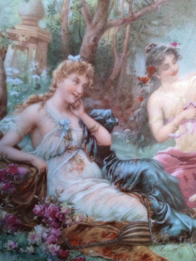 Old Vintage Royal Vienna Porcelain Cabinet Portrait Plate Romantic Scene Marked