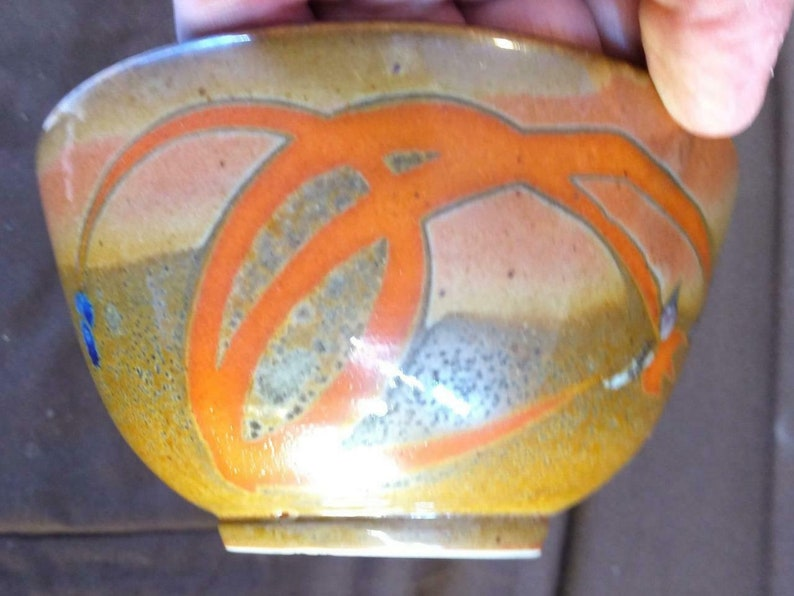 Vintage Art Pottery Bowl Asian Style Artist Signed Studio Marked Hand Painted