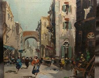 Vintage Artist Signed Oil Painting Antonio DeVity Original Cityscape Landscape