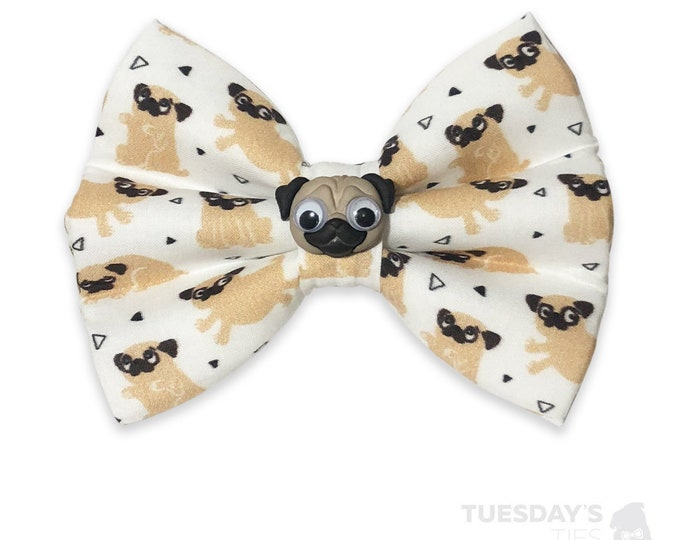 Googly Eyed Pug Bow Tie