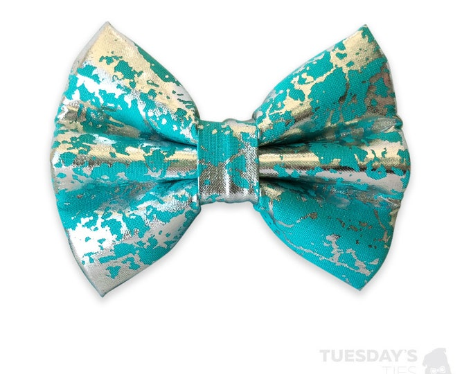 Turquoise Splattered Silver Metallic Bow Tie
