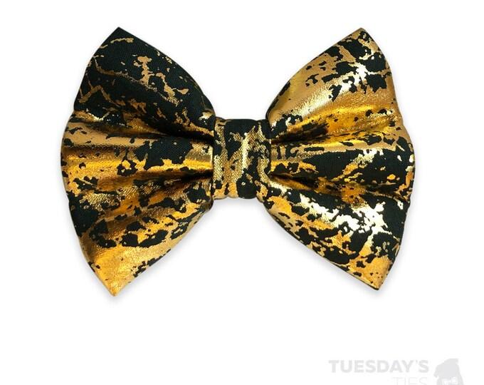 Black Splattered Gold Metallic Bow Tie