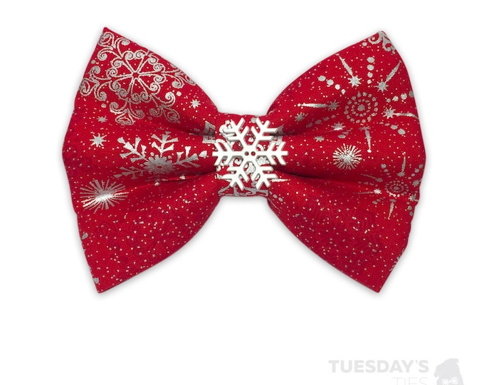 Silver Snowflakes in Red Bow Tie