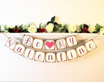 VALENTINE BANNER, Valentine Garland, Sign Decoration, Be My Valentine Banner, Happy Valentines Day, Love Garland, Valentines Day Garland,