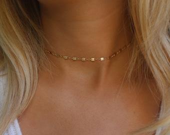 Dainty Chain Choker Necklace / Simple Gold Choker Necklace / Trendy Gold Choker Necklace / Adjustable Choker / Minimal Layering Piece