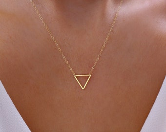 FLOATING TRIANGLE Necklace in Brass  Triangle Pendant  Simple Geometric Necklace  Minimal Brass Triangle Necklace
