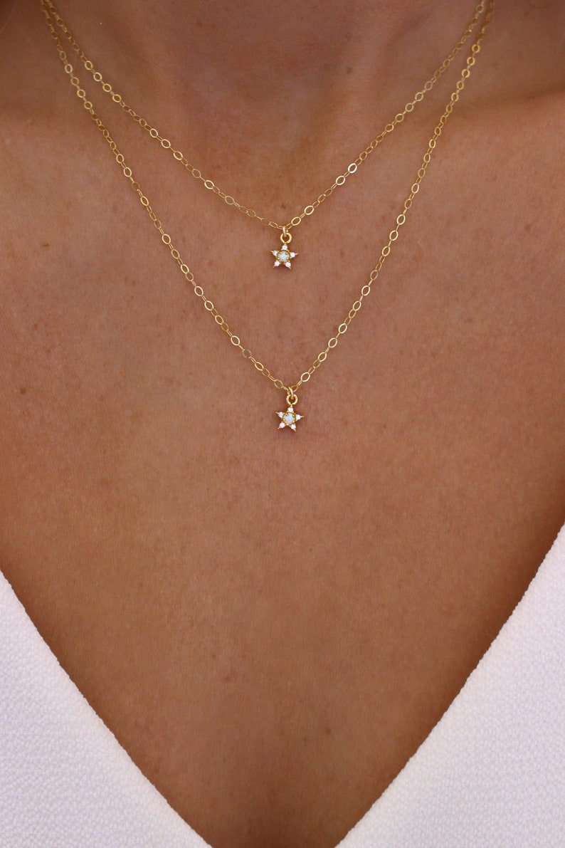 Tiny Opal Star Necklace Set  Star Layering Necklace  Star image 0