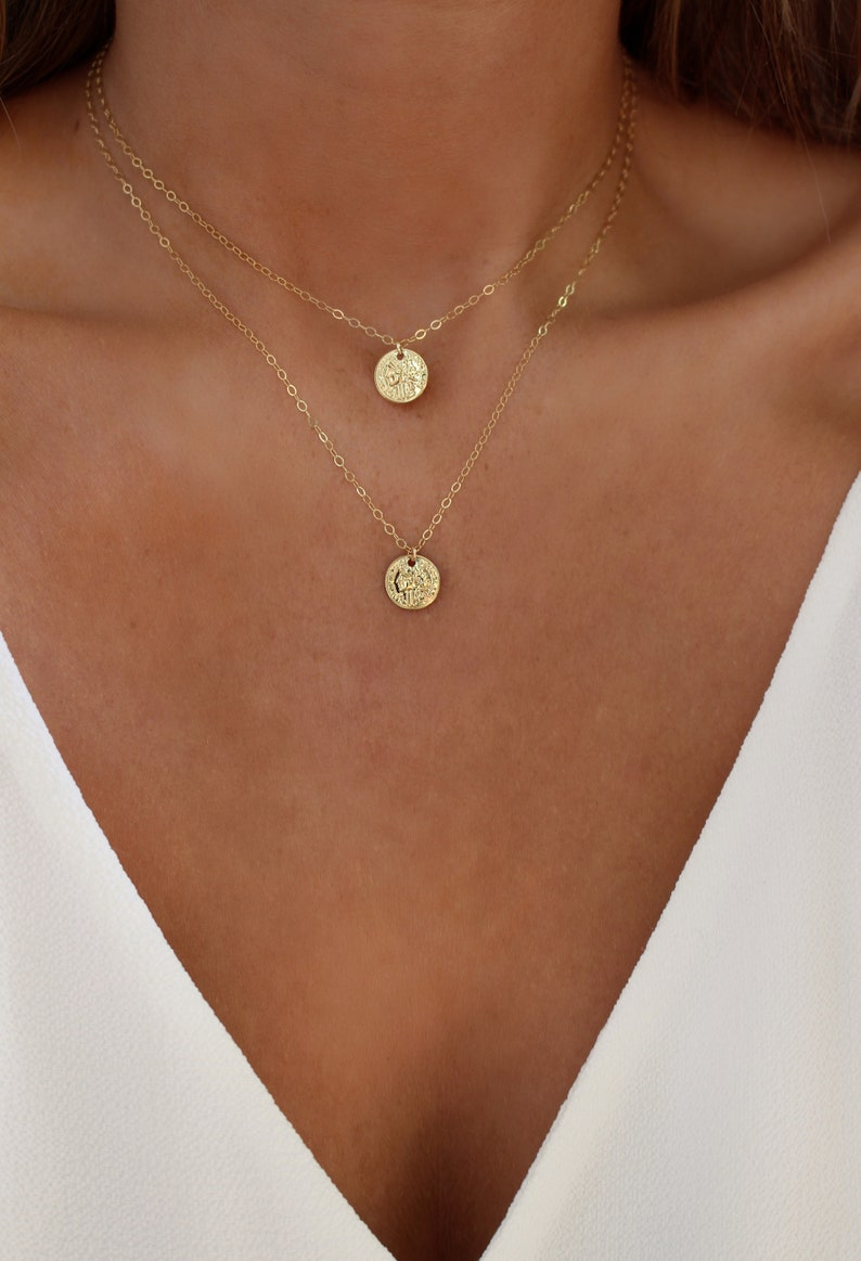 Gold Coin Necklace Set  Coin Layering Necklace  Greek Coin  image 0