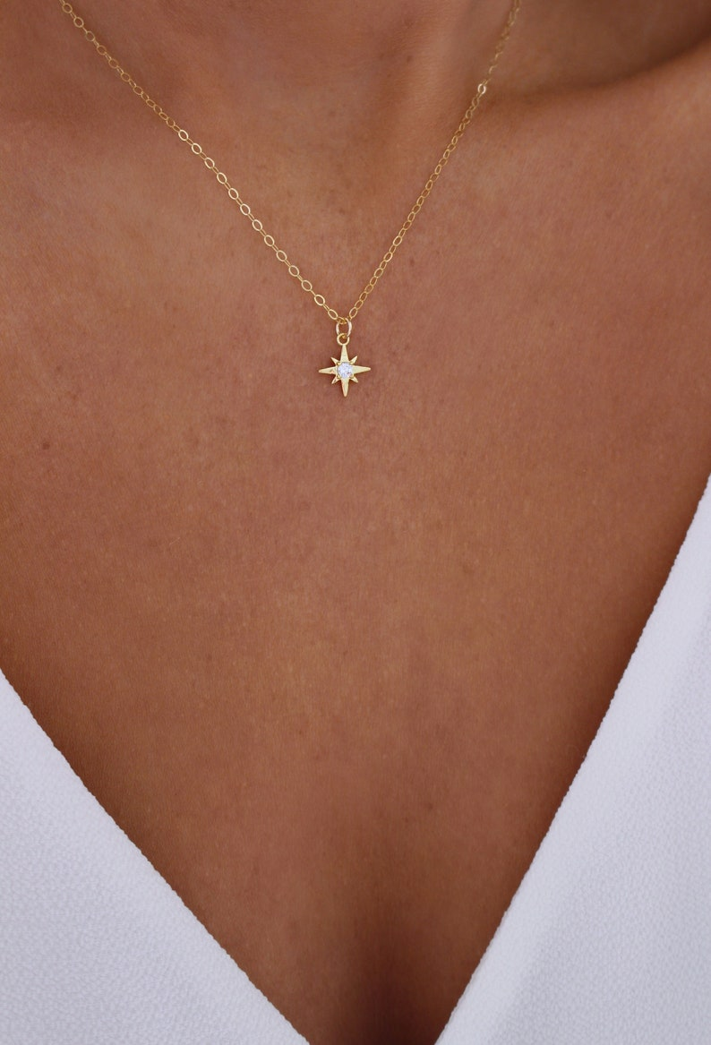 Tiny Gold Star Necklace  Mini Star Necklace  Dainty image 0