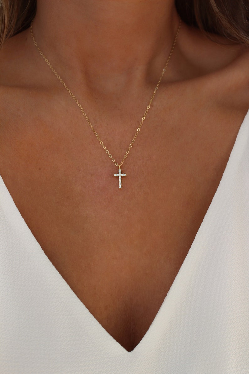 Gold or Silver Cross Necklace  Religious Jewelry  Tiny Gold image 0