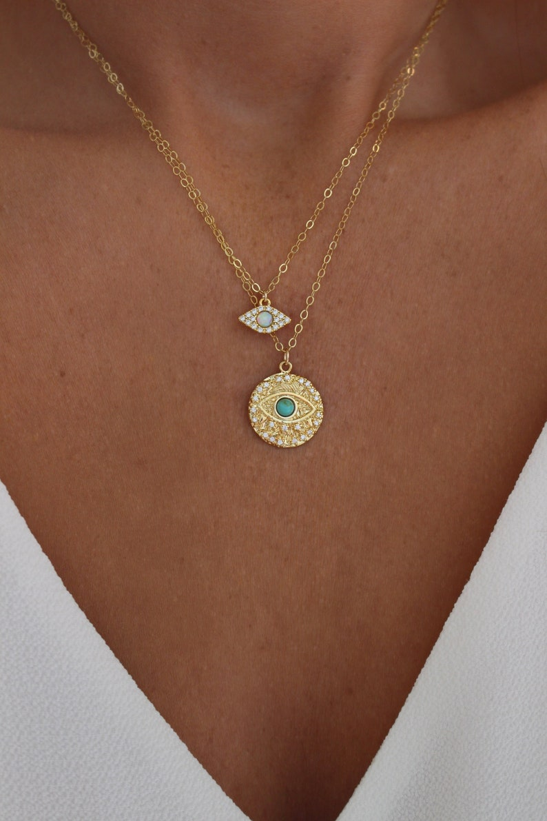 Evil Eye Charm Necklace  Tiny Evil Eye Necklace  Gold Coin image 0