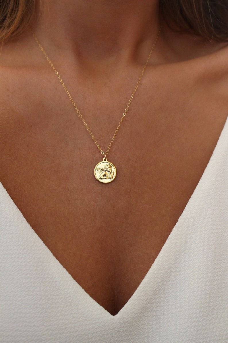 Angel Medallion Necklace  Angel Necklace  Gold Coin Necklace image 0