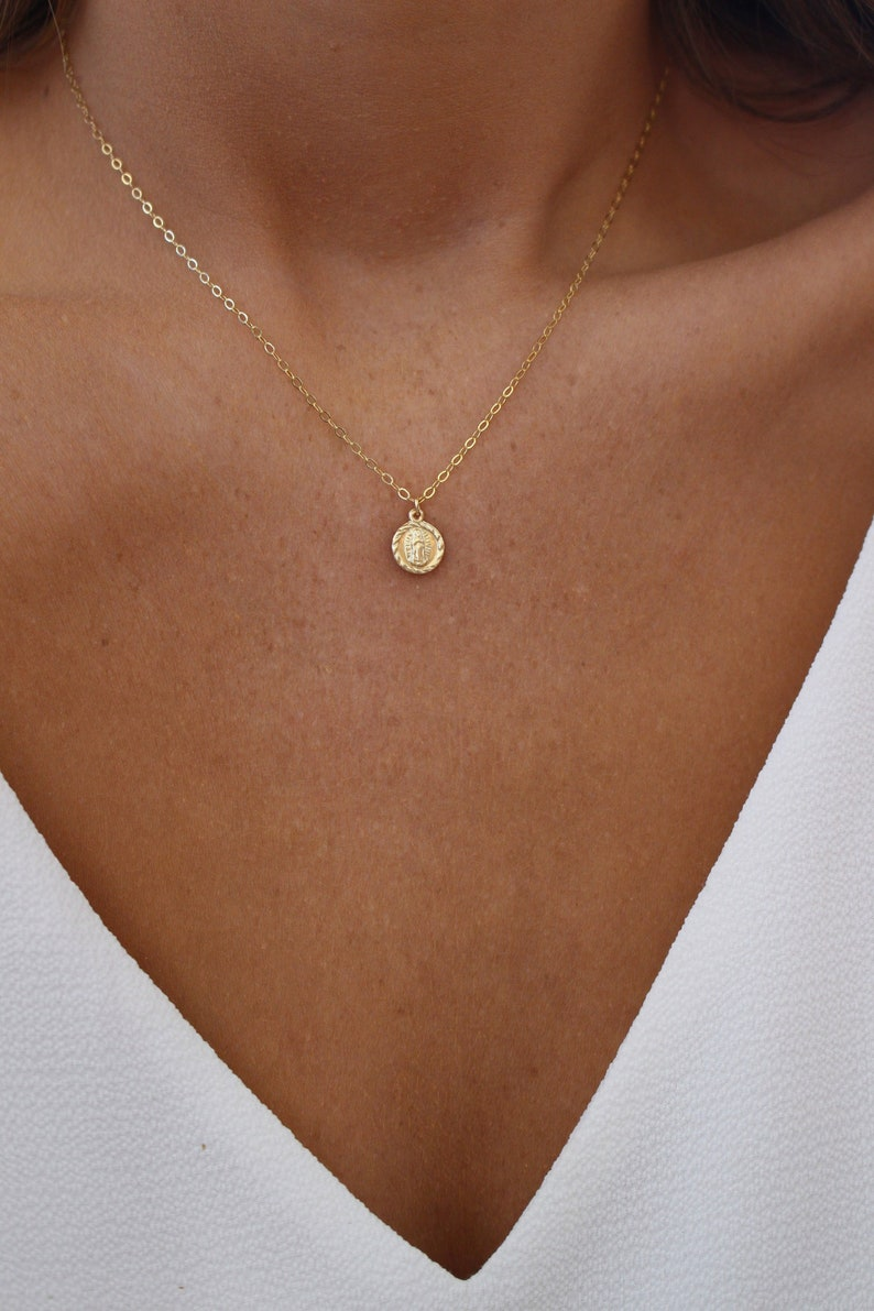 Dainty Virgin Mary Necklace  Gold Religious Necklace  image 0