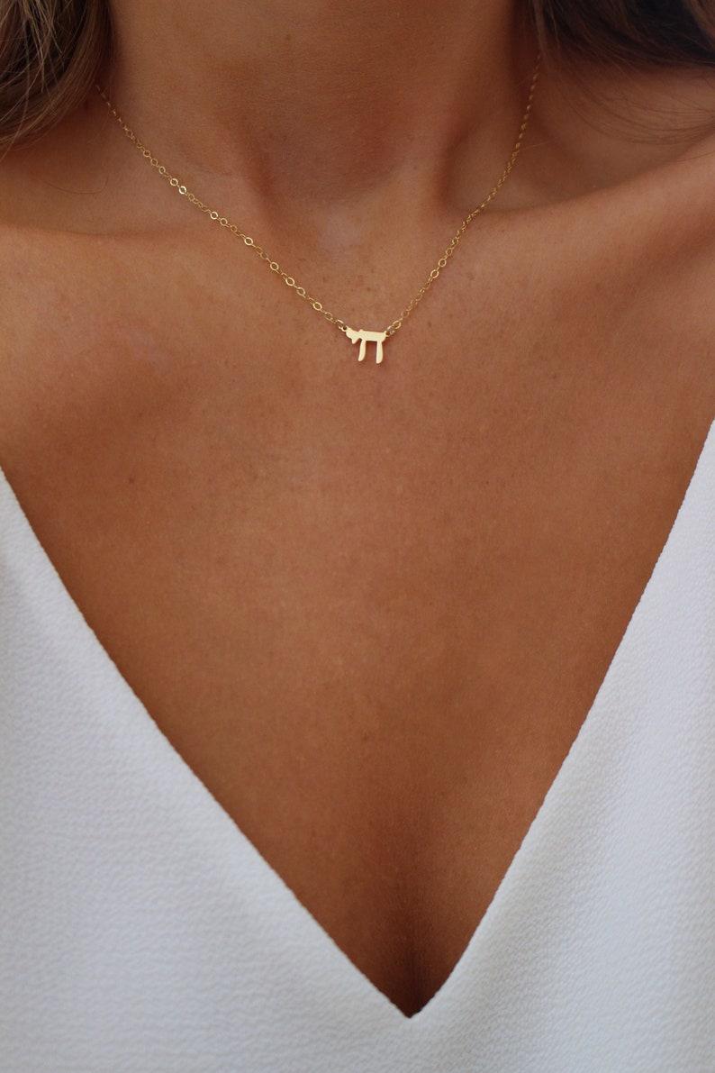 Chai Necklace  Bat Mitzvah Gift  Jewish Jewelry  Tiny Chai image 0