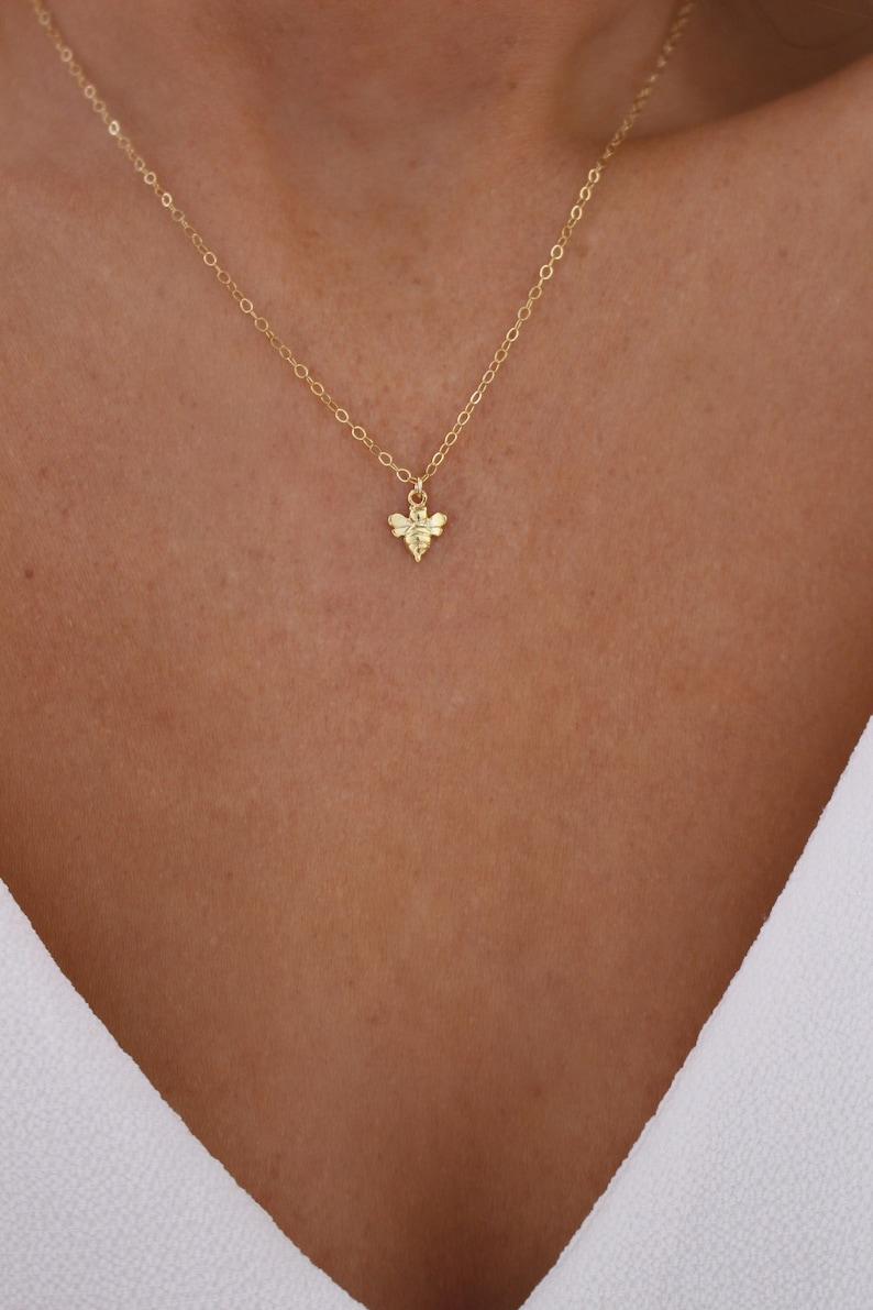 Tiny Gold Bee Necklace  Gold Bee Necklace  Honey Bee image 0