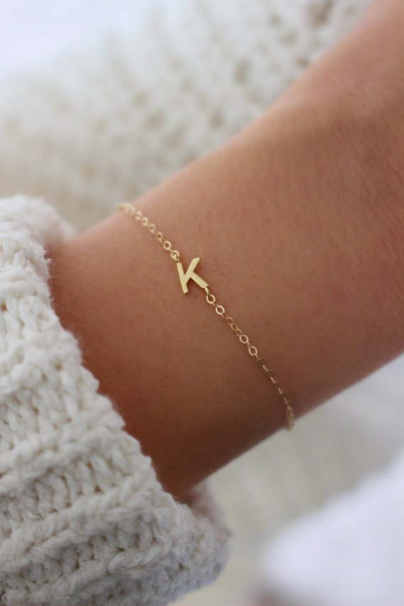 Initial Bracelet | Dainty Initial Bracelet | Personalized Jewelry | Sideways Letter Bracelet | Dainty Bracelet | Gold Layering Bracelet