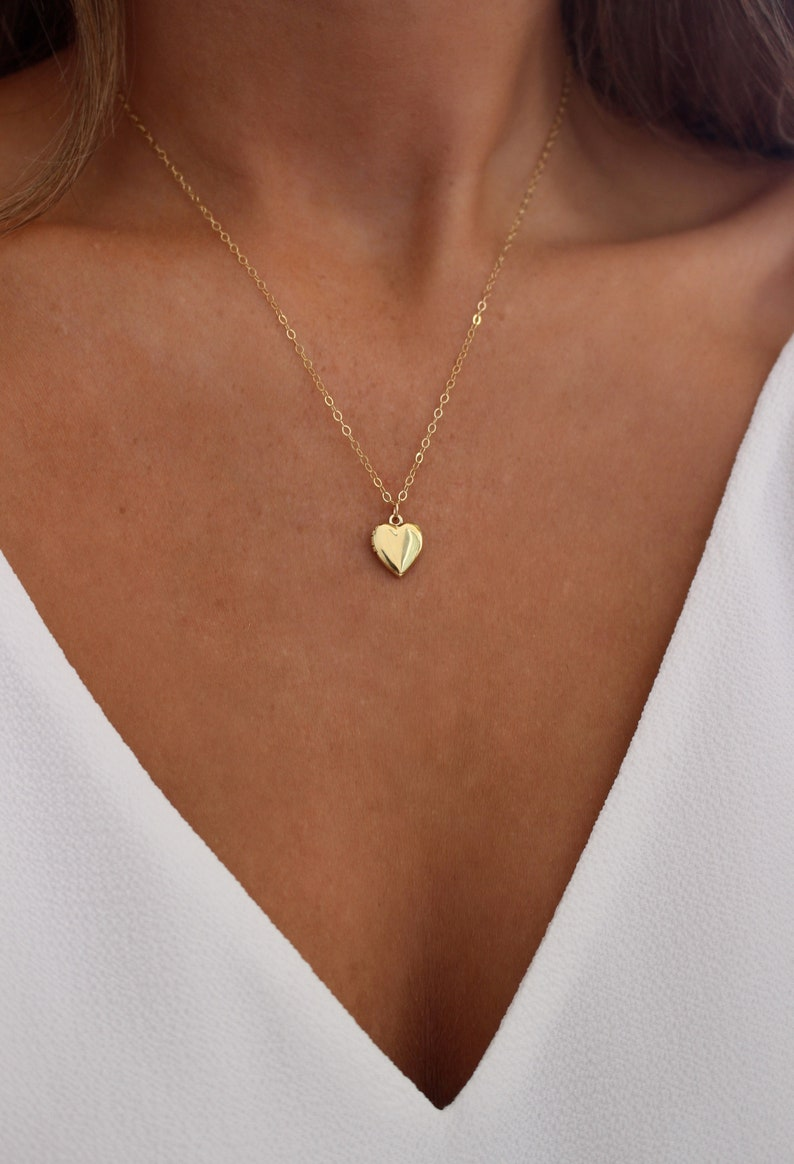 2d99a041eeb5a Gold or Silver Heart Locket Necklace Small Locket 14k Gold