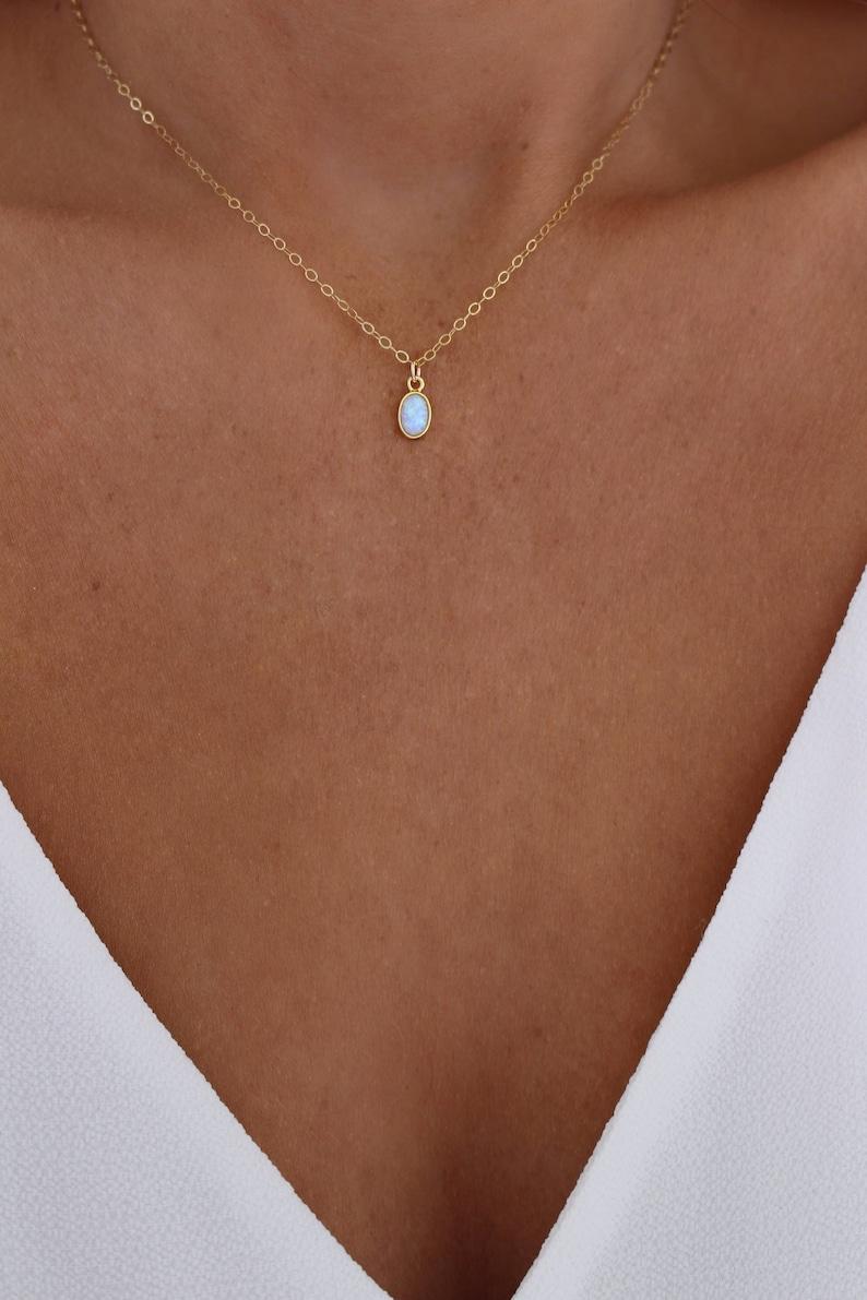Tiny Opal Necklace  Opal Choker Necklace  October Birthstone image 0