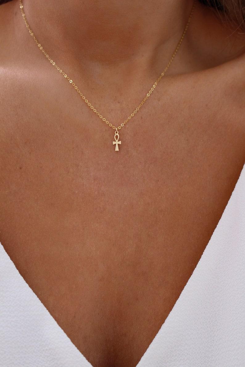 Tiny Ankh Necklace  Gold Ankh Necklace  Egyptian Symbol  image 0