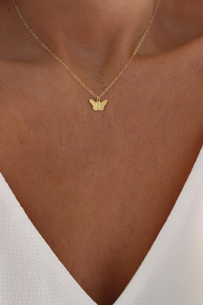 Tiny Gold Butterfly Necklace  Gift for Her  Bridesmaid Gift image 0