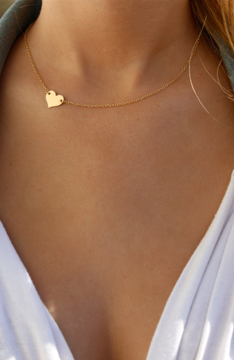 Small Heart Necklace  Sideways Heart Necklace  Delicate Gold image 0