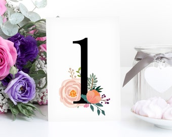 Printable wedding table numbers vintage style watercolour floral Table rustic wedding christening