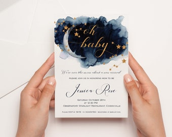 Celestial Baby Shower Invitation | Moon Baby Shower  | Twinkle Little Star Baby | Navy Baby Shower