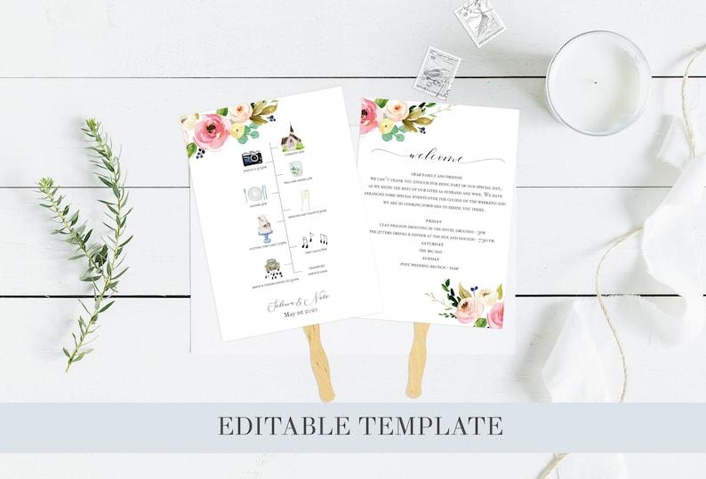 Floral Wedding Timeline Greenery Wedding Timeline, 100/% Editable Wedding order of the day Editable Wedding Itinerary