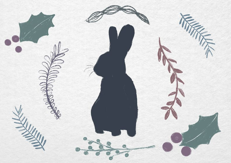picture relating to Bunny Silhouette Printable referred to as Bunny Rabbit silhouette Clipart Foliage Floral Electronic Watercolour layout PNG Downloadable Printable