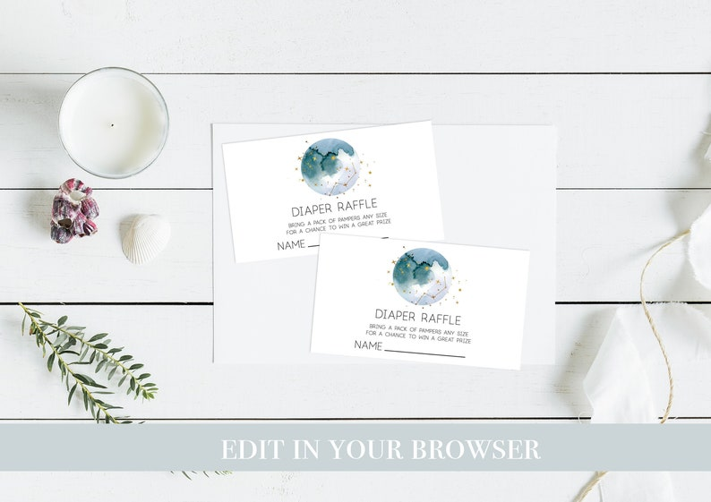 Personalised DIY Printable Celestial party game Moon Baby Shower Diaper Raffle Constellation baby shower Game Nappy Raffle
