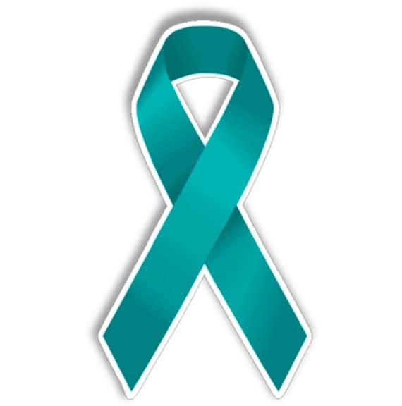 Ovarian Cancer Awareness Teal Ribbon Vinyl Sticker For Car Etsy