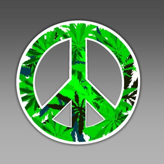 Peace Symbol Vinyl Car Bumper Sticker In Marijuana Leaves Etsy
