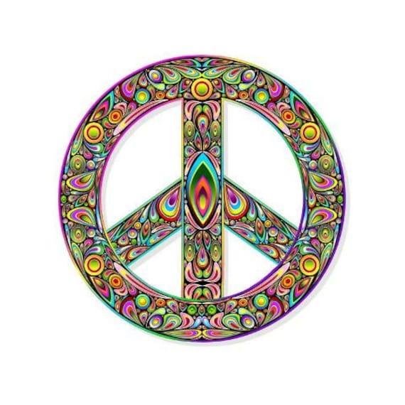 Peace Symbol Colorful Vinyl Sticker Car Or Laptop 90 Mm Etsy
