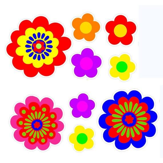 Fiori Hippie.Set Of 9 Asst Flower Stickers Hippie Style Flower Power Vinyl Etsy