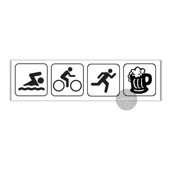Lustige Aufkleber Triathlon Schwimmen Fahrrad Laufen Bier 200 Etsy