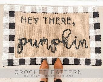 Pumpkin Mat Crochet Pattern, Fall Crochet, Thanksgiving Crochet, Halloween Crochet, Autumn Crochet, Pumpkin Crochet Pattern, Crochet Rug