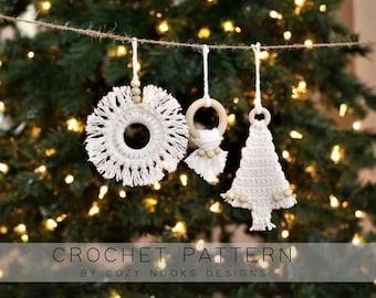 BoHoHo Ornaments Crochet Pattern, Boho Ornaments, Boho Style, Boho Christmas Decor, Crochet Christmas Pattern, Boho, Minimalism, Bohemian