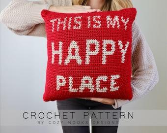 Happy Place Pillow Crochet Pattern, Pillow Crochet Pattern, Modern Pillow Crochet Pattern, Crochet Pillow, Home Decor, Beginner Crochet