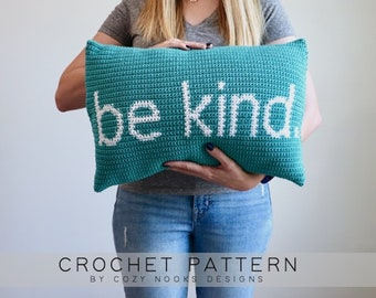 Be Kind Pillow Crochet Pattern, Pillow Crochet Pattern, Modern Pillow Crochet Pattern, Crochet Pillow, Home Decor, Beginner Crochet