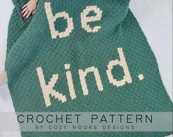 Be Kind Blanket Crochet Pattern, Blanket Crochet Pattern, C2C Crochet Pattern, Crochet Blanket, Home Decor, Corner to Corner Crochet Pattern