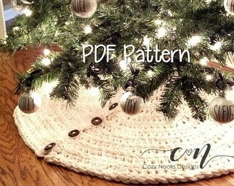 farmhouse christmas tree skirt crochet pattern farmhouse decor rustic christmas decor crochet christmas pattern magnolia farm shabby