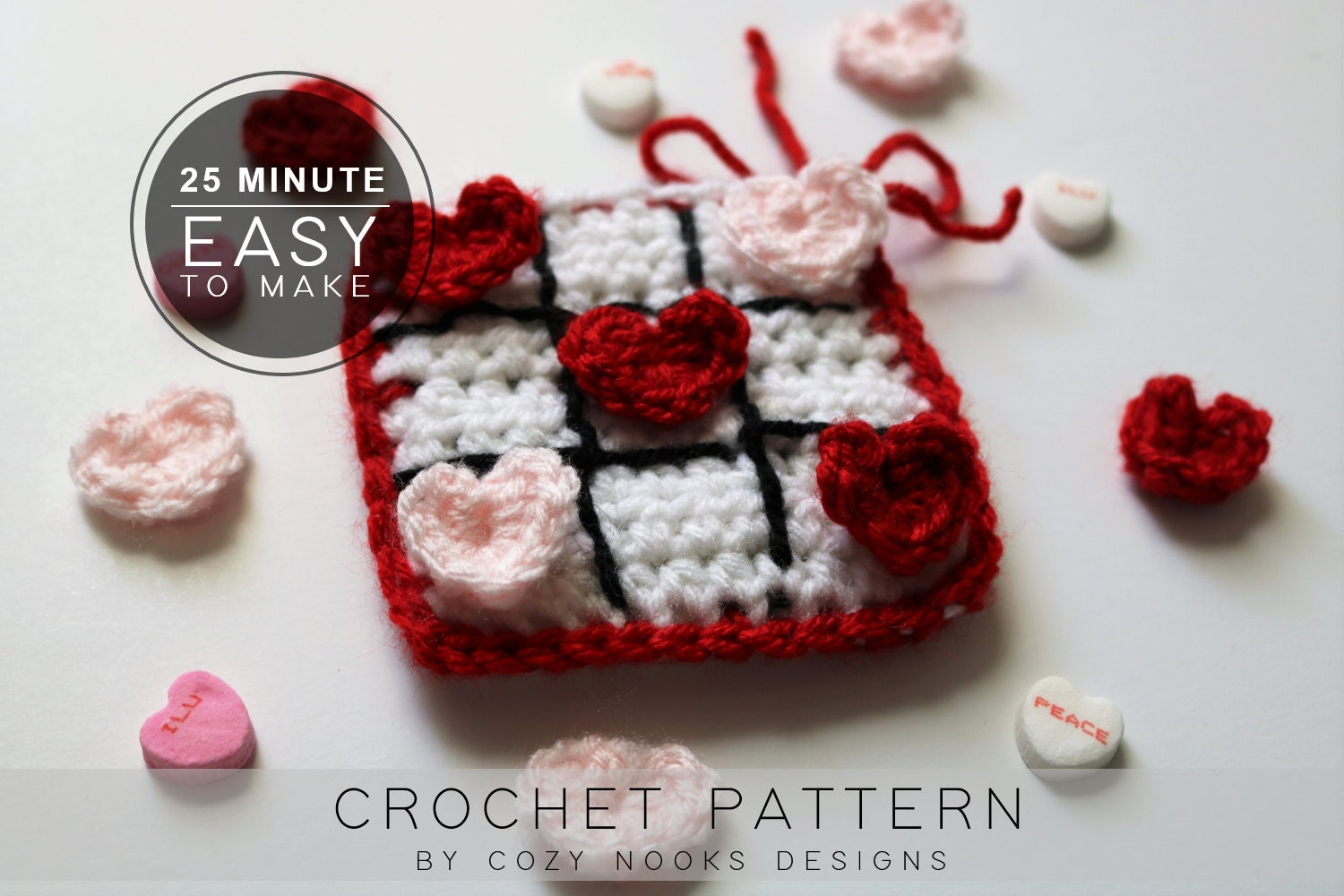 Valentines Day Crochet Pattern Valentines Tic Tac Toe On Etsy