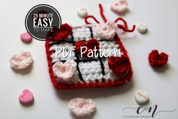 Valentines Day Crochet Pattern Valentines Tic Tac Toe On Etsy