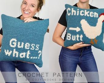 Chicken Butt Pillow Crochet Pattern, Pillow Crochet Pattern, Modern Pillow Crochet Pattern, Crochet Pillow, Home Decor, Beginner Crochet