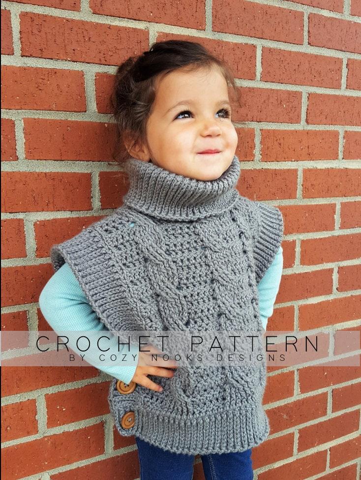 Cowl Pullover Sweater Crochet Pattern Crochet Pattern Girl Etsy