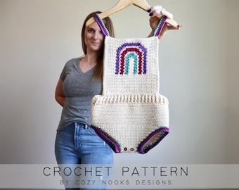 Boho Rainbow Romper Crochet Pattern, Baby Crochet Pattern, Toddler Crochet, Crochet Pattern Baby, Crochet Pattern Girl, Crochet Summer Baby