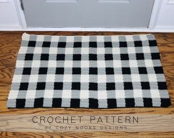 Buffalo Plaid Rug Crochet Pattern, Modern Farmhouse Decor, Buffalo Check Rustic Decor, Crochet Farmhouse Rug, Crochet Rug, Magnolia, Farm