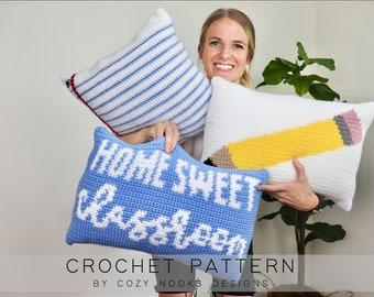 Back to School Pillow Set Crochet Pattern, Teacher Crochet Pattern, Classroom Decor, Teacher Gift, Teacher Appreciation, Classroom Gift