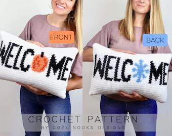 Fall Winter Welcome Pillow Crochet Pattern, Autumn Crochet Pattern, Winter Crochet Pattern, Crochet Pillow, Beginner Crochet, Winter Fall